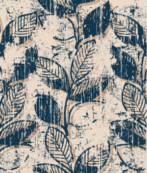 Twigs with leaves vintage pattern design. Grunge style. Vector - Starpik Stock