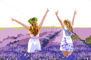Two blonde women in white dresses with floral crowns on head standing in lavender field with their hands up. Enjoying nature. Vector - Starpik Stock