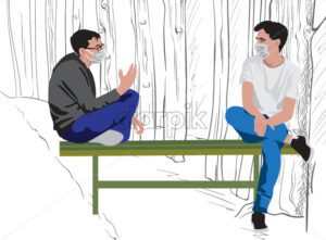 Two men with protective medical mask sitting on a green bench and talking in the park. Pandemy restriction lifted. Vector - Starpik Stock