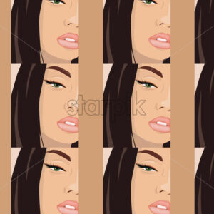 Young and beautiful girl with eye arrows and rose color lips looking glamorously. Close-up. Pattern. Vector - Starpik Stock