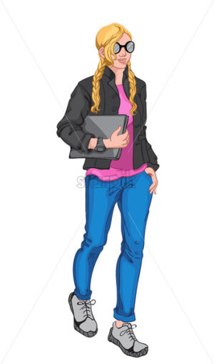 Young blonde woman wearing pink blouse, black jacket, sunglasses, watch, blue jeans, gray sneakers and holding a laptop. Vector - Starpik Stock