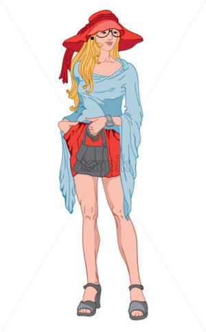 Young blonde woman with serious facial expression. Bing red hat and short dress, blue blouse, gray shoes, watch and handbag. Vector - Starpik Stock