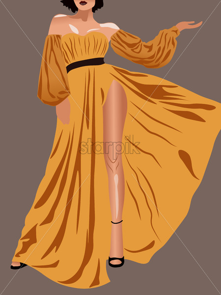 Young brunette with short hair, yellow dress and high heels. Showing legs. Vector - Starpik Stock