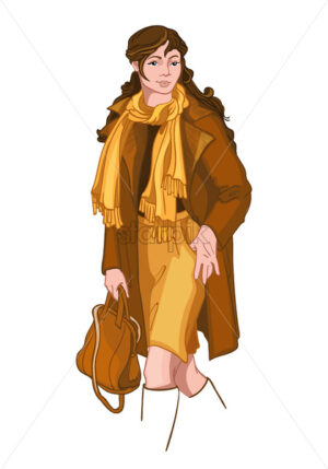 Young brunette woman dressed in yellow and brown autumn clothes. Elegant and stylish outfit. Vector - Starpik Stock