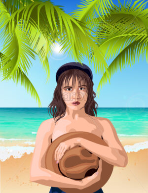 Young caucasian girl covering breast with hat and posing on the beach with green palm and sea on background. Summer time. Vector - Starpik Stock