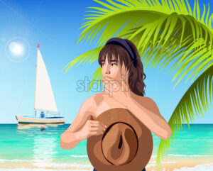 Young caucasian girl covering her breast with brown hat while boat is passing by. Green palm and sea on background. Summer time. Vector - Starpik Stock