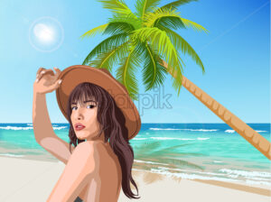 Young caucasian girl with brown hat posing on the beach with green palm and sea on background. Summer time. Vector - Starpik Stock