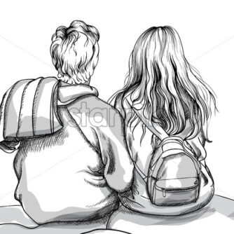 Young couple cuddling on mountain top rock. Line art. Vector - Starpik Stock