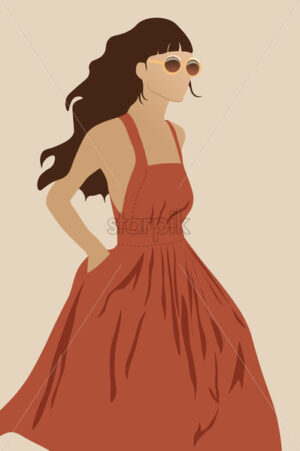 Young female model in dark orange dress and round sunglasses walking. Vector - Starpik Stock