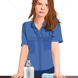 Young girl nurse or medical worker with hand sanitizer and medical protective mask. Corona Virus idea. Vector - Starpik Stock