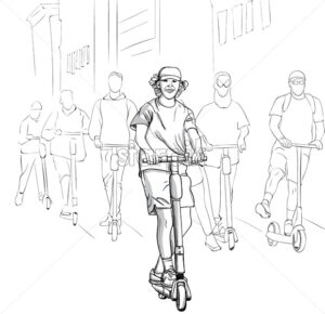 Young group of happy men riding on electric scooter in the city. Line art. Vector - Starpik Stock