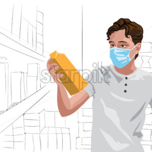 Young man in white t-shirt wearing protective medical mask looking at some milk in grocery store. Vector - Starpik Stock