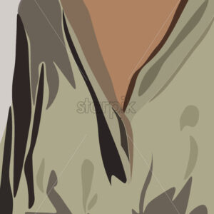 Young tanned woman dressed in olive shirt and jeans. Torso close-up. Vector - Starpik Stock