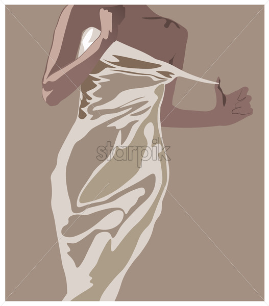 Young woman undressing from her white dress. Tanned skin. Vector - Starpik Stock