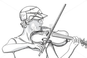 Young woman with glasses and hat playing o violin. Line art. Vector - Starpik Stock
