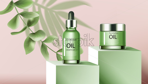 A jar and a dropper bottle with essential eucalyptus oil on podiums. Place for text. Twig and palm three leaf. Realistic. 3D Mockup Vector - Starpik Stock