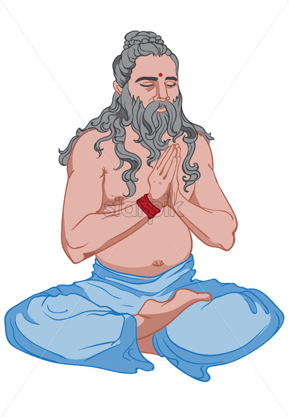 Adult man with long, gray hair and beard dressed in blue pants making yoga. Vector - Starpik Stock