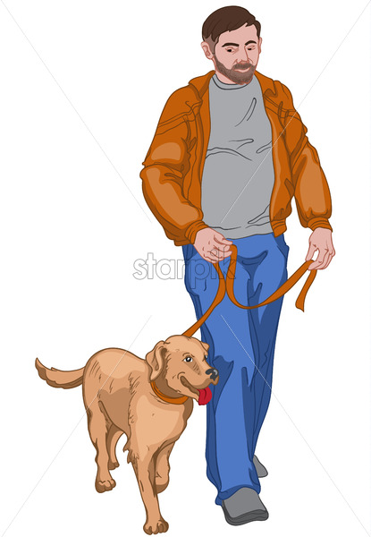 Adult man with serious facial expression in brown jacket, gray t-shirt, shoes and blue pants walking his happy dog. Vector - Starpik Stock