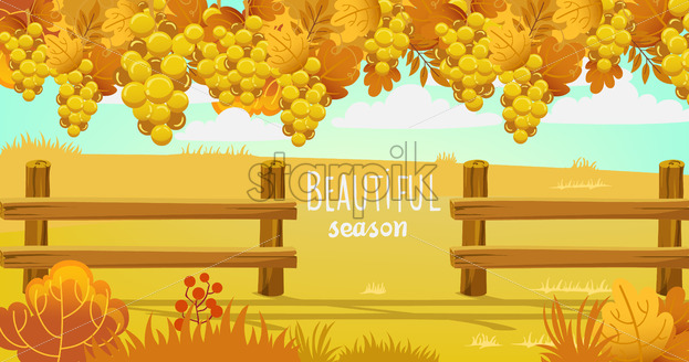 Autumn field surrounded by a wooden fence. Bushes, twigs and grapes. Vector - Starpik Stock