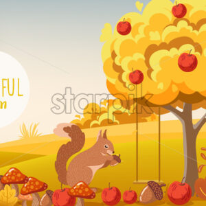 Autumn forest. Squirrel eating a acorn. Tree filled with apples, bushes, mushrooms. Vector - Starpik Stock