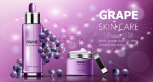 Banner set of grape skin care cosmetics. Facial essence and cream. Purple color. Product placement. Mockup Realistic Vector - Starpik Stock