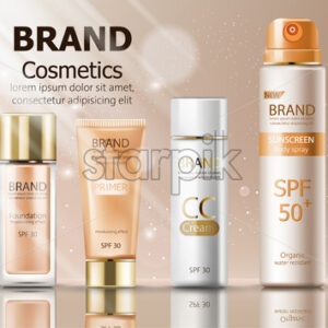 Beige color make up cosmetics set with cream, sunscreen spray, primer and foundation. Mirror and sun shining decoration. Mockup realistic Vector - Starpik Stock
