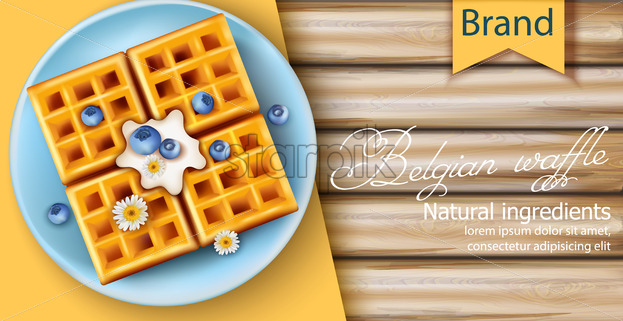 Belgian waffle covered in cream, blueberries and chamomile flowers on blue plate. Made using only natural ingredients. 3D mockup with product placement. Realistic Vector - Starpik Stock