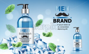 Body wash soap for men surrounded by ice and mint leaves with place for text. Realistic. 3D Mockup Vector - Starpik Stock