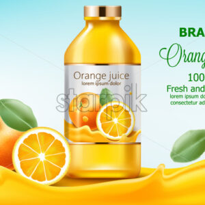 Bottle with fresh and natural juice submerged in flowing orange extract. 3D mockup with product placement. Realistic Vector - Starpik Stock