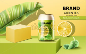 Can of iced green tea on podium surrounded by mint, lemon slice and tropical leaf. Place for text. Realistic. Vector - Starpik Stock