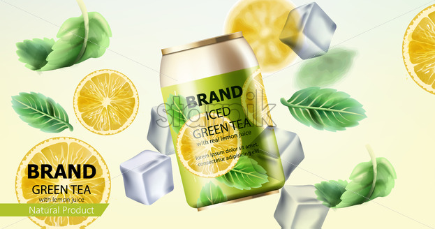 Can of iced green tea surrounded by ice cubes, mint and lemon slices. Place for text. Realistic. Vector - Starpik Stock