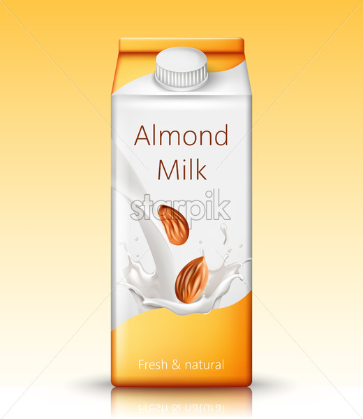Carton box with almond milk. Fresh and natural. Realistic. 3D Mockup Vector - Starpik Stock