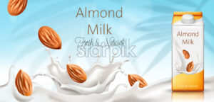 Carton box with almond milk. Nuts and milk splashes. Fresh and natural. Realistic. 3D Mockup Vector - Starpik Stock