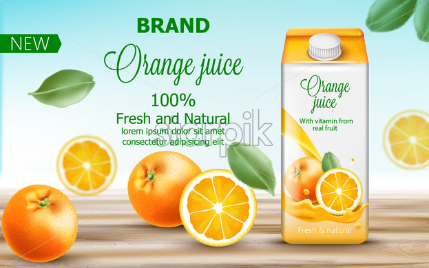 Carton box with orange juice surrounded by citruses and leaves. Fresh and natural vitamin from real fruit. 3D mockup with product placement. Realistic Vector - Starpik Stock