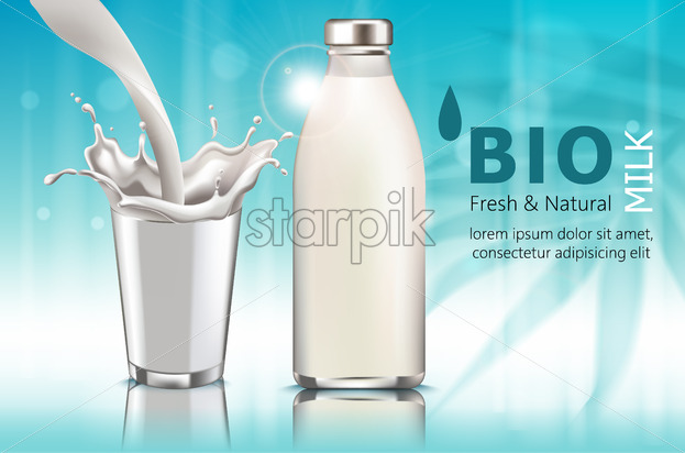 Composition of a bottle and a cup with milk. Pouring down. Splashes. Bio. Fresh and natural. . Realistic. 3D Mockup Vector - Starpik Stock