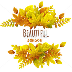 Composition of autumn leaves. Autumn thematics. Warm colors. Beautiful season. Vector - Starpik Stock