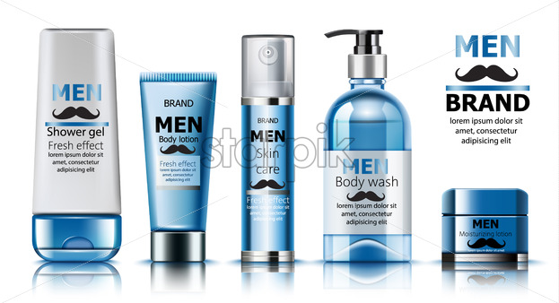 Composition of shower gel, body lotion, skin care oil, wash soap and moisturizing lotion for men. Place for text. Fresh effect. Moustache decoration. Realistic. 3D Mockup Vector - Starpik Stock