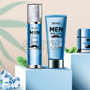 Composition of skin care oil, body lotion and moisturizing lotion for men on podium. Ice cubes and mint leaves. Realistic. 3D Mockup Vector - Starpik Stock