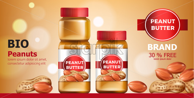Composition of three jars with peanut butter. Place for text. Bio. On Sale. Realistic. 3D Mockup Vector - Starpik Stock