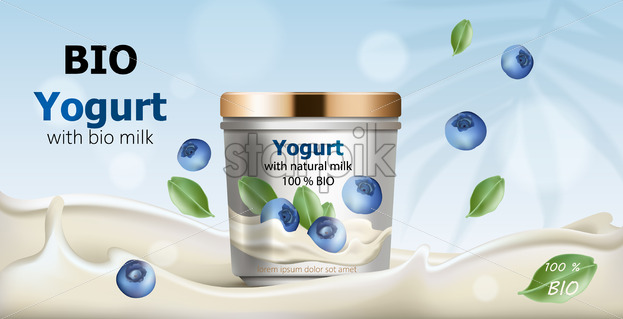 Container surrounded by flowing yogurt from natural milk, blueberries and leaves falling from air. 3D mockup with product placement. Realistic Vector - Starpik Stock
