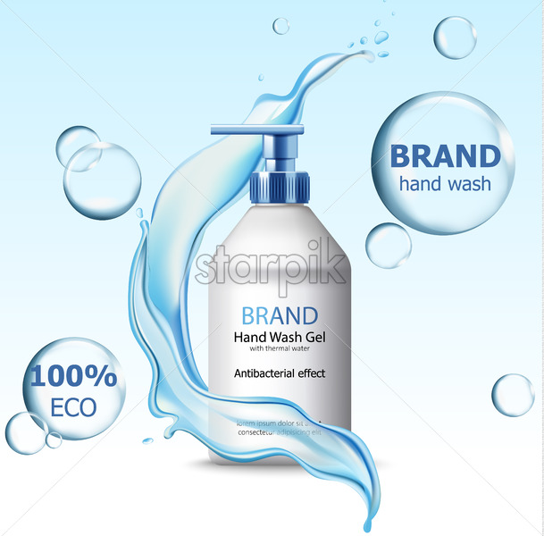Eco hand wash gel with antibacterial effect container surrounded by bubbles and flowing water. 3D mockup with product placement. Realistic Vector - Starpik Stock