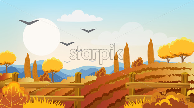 Empty fields surrounded by fences, bushes and trees. Autumn thematics. Flying birds. Vector - Starpik Stock