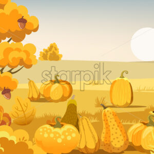 Field with pumpkins, bushes and a tree with acorns. Autumn thematics. Vector - Starpik Stock