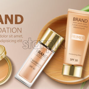 Foundation and primer bottles in beige color. Green leaves and makeup pocket mirror decoration. Mockup realistic Vector - Starpik Stock