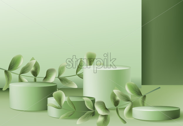 Four podiums for products surrounded by twigs. Pastel colors. Realistic. Vector - Starpik Stock