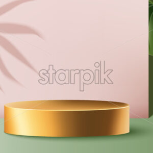Golden round container surrounded by pink and green walls with exotic leaves. Product placement. Vector - Starpik Stock