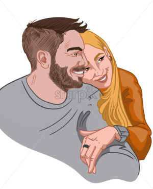 Happy couple hugging and looking away. Brunette man in gray sweater and blonde woman in orange jumper. Vector - Starpik Stock