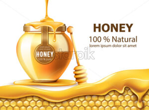 Honeycombs and a jar with honey. Dripping down. Natural product. With place for text. Realistic. Vector - Starpik Stock