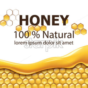 Honeycombs covered in dripping honey. Natural product. With place for text. Realistic. Vector - Starpik Stock