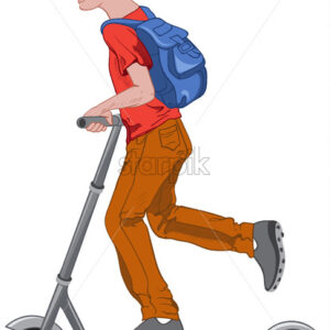 Joyful boy riding a kick scooter. Transportation idea. Wearing blue cap and backpack, red t-shirt, brown pants, and gray shoes. Vector - Starpik Stock